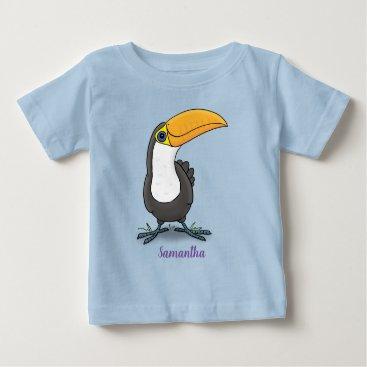 Cute happy toucan blue green cartoon illustration baby T-Shirt
