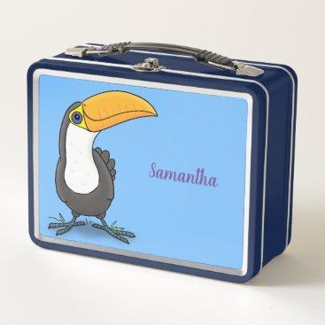 Cute happy toucan blue green cartoon illustration metal lunch box