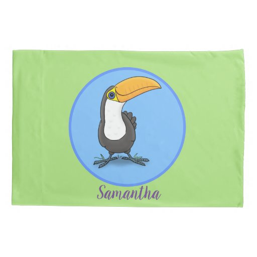 Cute happy toucan blue green cartoon illustration pillow case