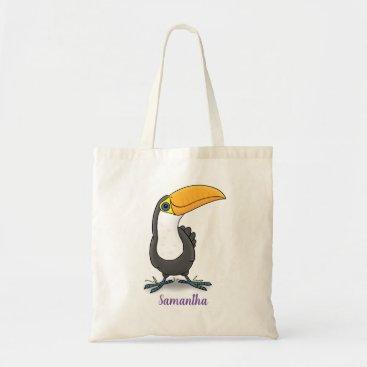 Cute happy toucan blue green cartoon illustration tote bag