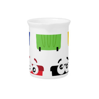 Cute happy trashes : colorful Trashes Beverage Pitcher