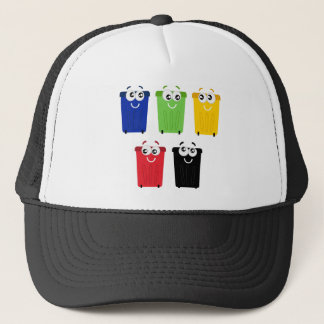 Cute happy trashes : colorful Trashes Trucker Hat