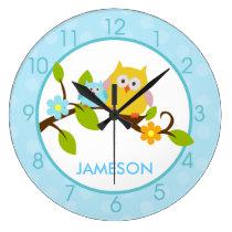 Cute Happy Tree Owls Round Wall Clock (Blue)