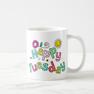 Cute Happy Tuesday Week Greeting Text Expression Coffee Mug