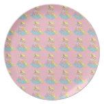 Cute Happy Unicorns on Clouds Pink Plate