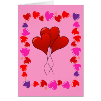 Cute Happy Valentine's Day Balloon Hearts Card