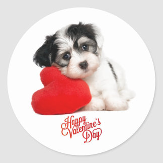 Cute Happy Valentine's Day Puppy Classic Round Sticker
