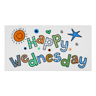 Cute Happy Wednesday Week Greeting Text Expression Poster