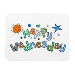 Cute Happy Wednesday Week Greeting Text Expression Rectangular Photo Magnet
