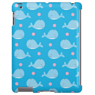 cute happy whales and dots pattern