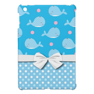 cute happy whales and dots pattern case for the iPad mini