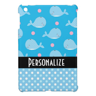 cute happy whales and dots pattern iPad mini cases