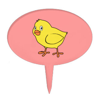 Cute Happy Yellow Chick Cake Toppers