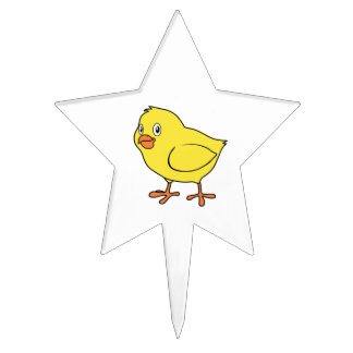 Cute Happy Yellow Chick Cake Topper