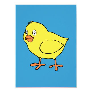 "Cute Happy Yellow Chick 5.5"" X 7.5"" Invitation Card"