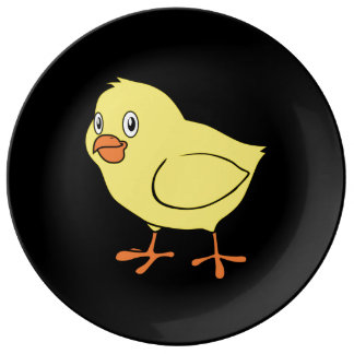 Cute Happy Yellow Chick Porcelain Plates