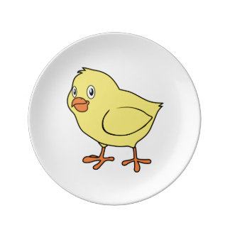 Cute Happy Yellow Chick Porcelain Plate