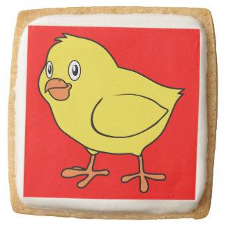 Cute Happy Yellow Chick Square Premium Shortbread Cookie