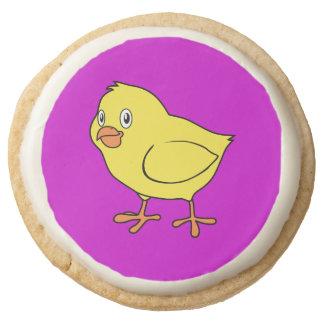 Cute Happy Yellow Chick Round Premium Shortbread Cookie
