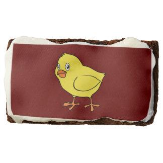 Cute Happy Yellow Chick Rectangular Brownie