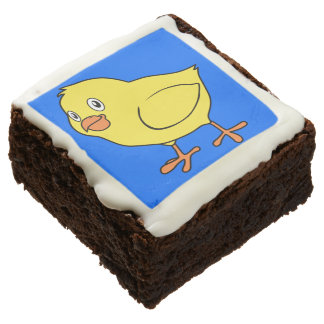 Cute Happy Yellow Chick Square Brownie