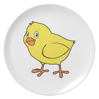 Cute Happy Yellow Chick Dinner Plates