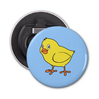 Cute Happy Yellow Chick Button Bottle Opener