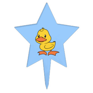 Cute Happy Yellow Duckling Lame Duck Day Cake Toppers