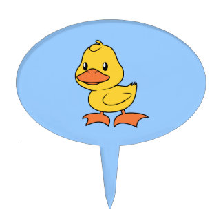 Cute Happy Yellow Duckling Lame Duck Day Cake Topper
