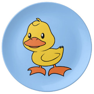 Cute Happy Yellow Duckling Lame Duck Day Porcelain Plate
