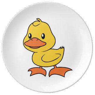 Cute Happy Yellow Duckling Lame Duck Day Porcelain Plates