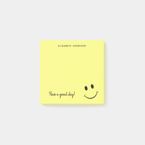 Cute Happy Yellow Face Personalized | Small Post-it Notes