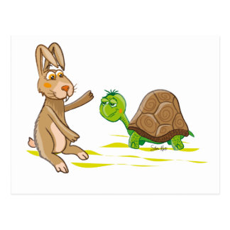Cute Hare and Tortoise postcard