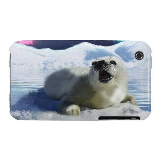Cute Harp Seal & Ice Art for Wildlife Supporters iPhone 3 Case