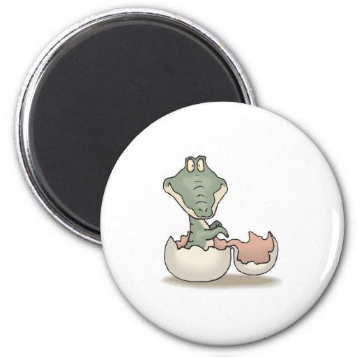 cute hatching baby alligator 2 inch round magnet