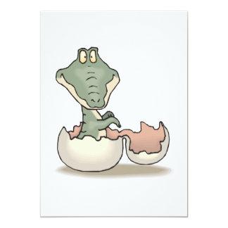 cute hatching baby alligator card