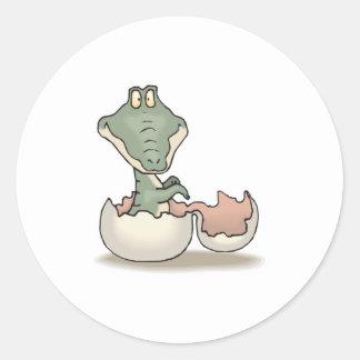 cute hatching baby alligator classic round sticker