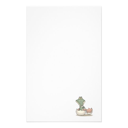 cute hatching baby alligator stationery