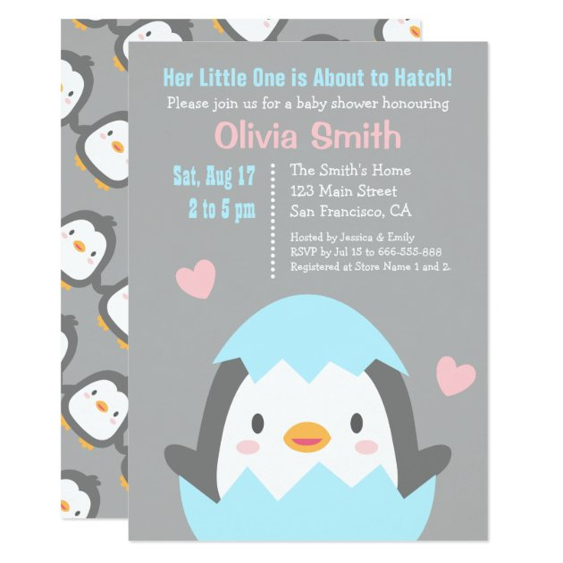 Cute Hatching Penguin Baby Shower Invitations | Zazzle