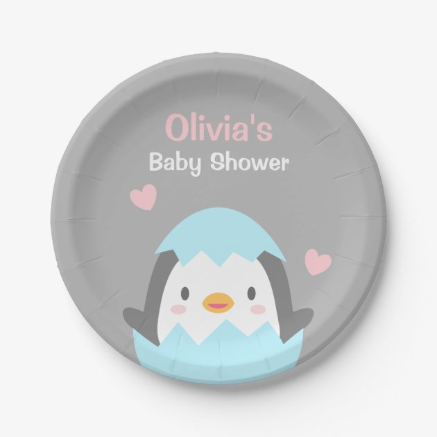 cute hatching penguin baby shower party supplies paper plate  zazzle, Baby shower invitation