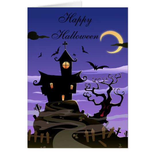 Cute Haunted House & Bats Halloween Card