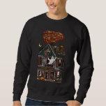 Cute Haunted House Faux Jewel Print Pullover Sweatshirt