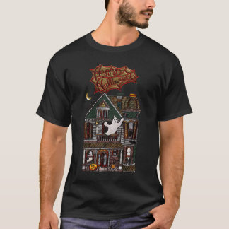 Cute Haunted House Faux Jewel Print T-Shirt