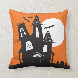 Cute Haunted House Halloween Throw Pillow