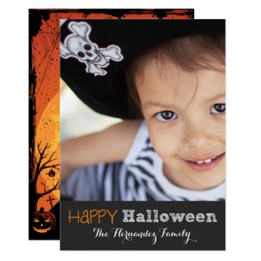 Halloween Themed Cute Haunted House Happy Halloween Photo Card