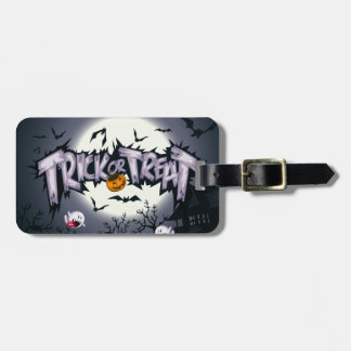 "Cute haunted moon ""Trick or Treat"" ghostly pumpkin Luggage Tag"