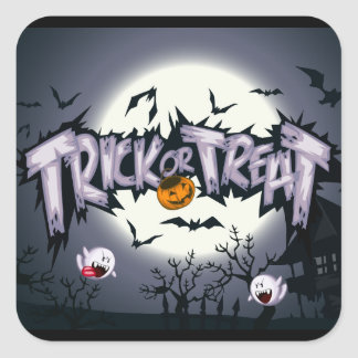 """Cute haunted moon """"Trick or Treat"""" ghostly pumpkin Square Sticker"""