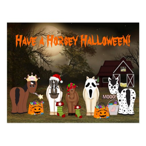 Cute Have a Horsey Halloween Postcard