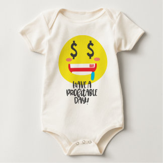 Cute Have Profitable Day $ Money Mouth Face Emoji Baby Bodysuit