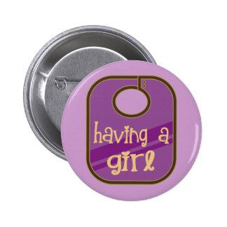 Cute Having A Girl Baby Announcement Button